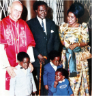 The self- imposed former President of Uganda Mr Obote greets the Catholic Pope of Rome.